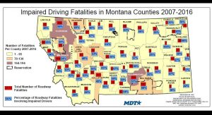 Zero DUI Deaths Montana Map
